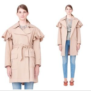 Rebecca Taylor Faille Ruffle Belted Trench Coat